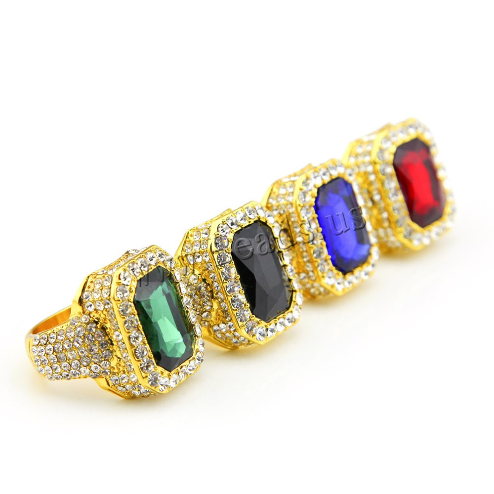 Buy Crystal Finger Ring Zinc Alloy Crystal plated Unisex & different size choice & faceted & rhinestone colors choice nickel lead & cadmium free 20x25mm Sold PC