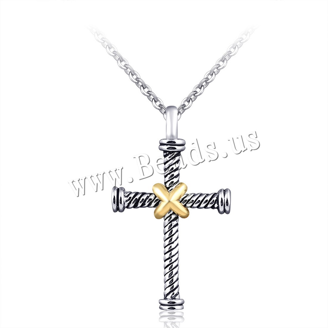 Buy Zinc Alloy Jewelry Necklace 2inch extender chain Cross plated oval chain & woman & enamel nickel lead & cadmium free 25x43.5mm Sold Per Approx 17.7 Inch Strand