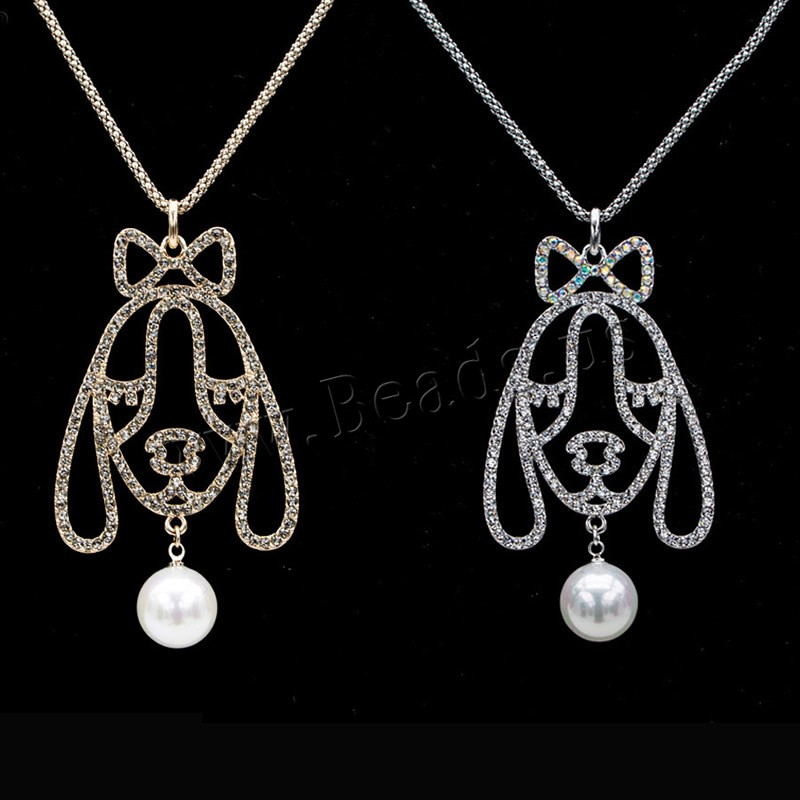 Buy South Sea Shell Sweater Chain Necklace Brass Shell Pearl Dog plated lantern chain & woman & cubic zirconia colors choice nickel lead & cadmium free 36x60mm Sold Per Approx 32.6 Inch Strand
