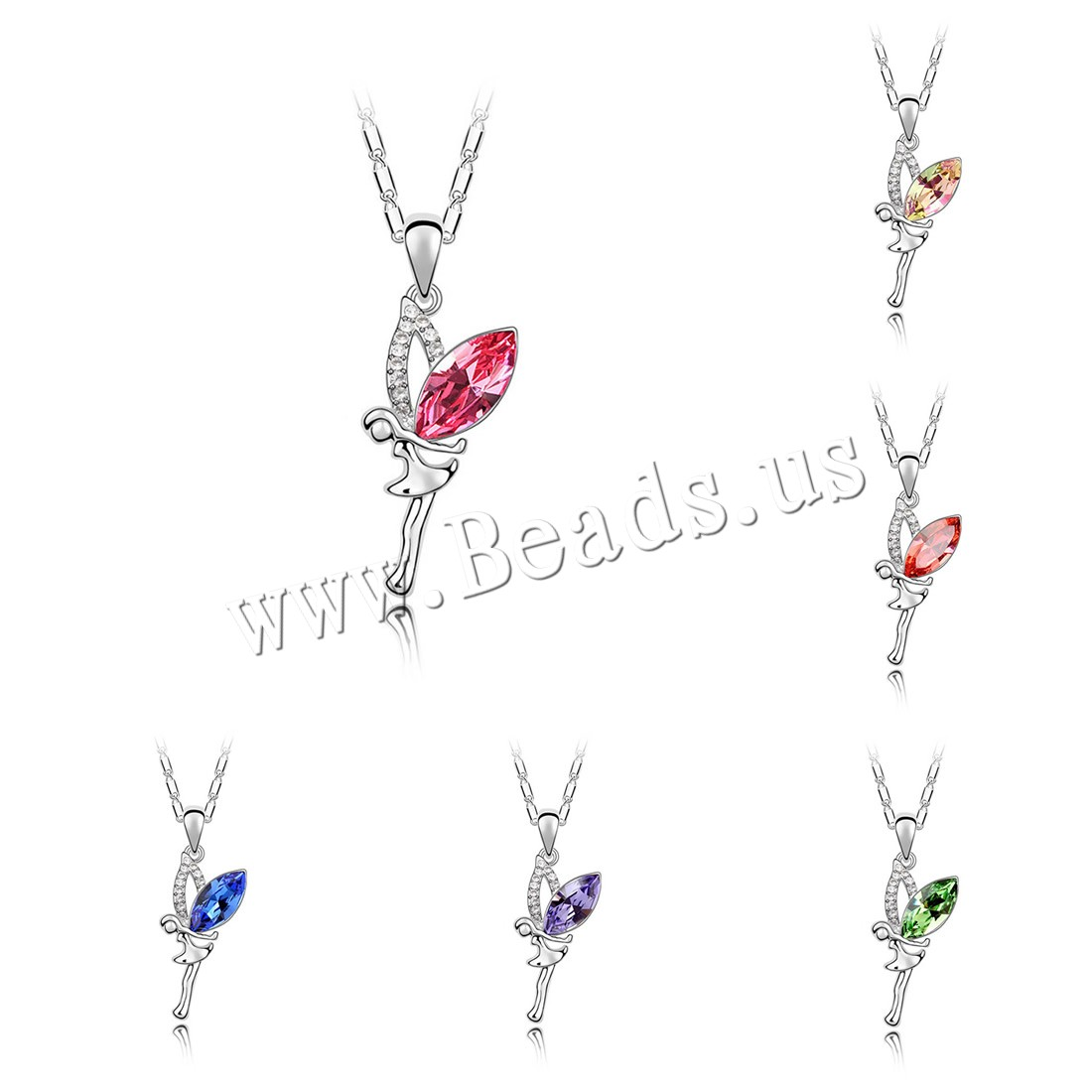 Buy CRYSTALLIZED™ Element Crystal Necklace Brass CRYSTALLIZED™ 5cm extender chain Angel platinum plated bar chain & woman & faceted colors choice nickel lead & cadmium free 18x38mm Sold Per Approx 15.5 Inch Strand