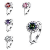 Kristall Fingerring, Zinklegierung, mit Kristall, Blume, Platinfarbe platiniert, verschiedene Größen vorhanden & für Frau & facettierte & mit Strass, keine, frei von Nickel, Blei & Kadmium, 7x7mm, verkauft von PC