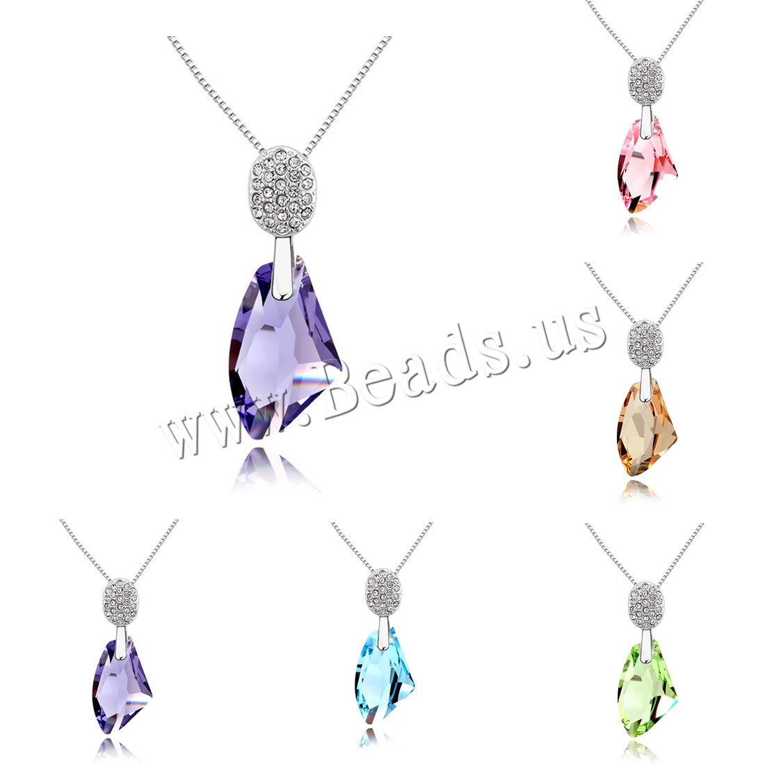 Buy CRYSTALLIZED™ Element Crystal Necklace Brass CRYSTALLIZED™ 5cm extender chain platinum plated box chain & woman & faceted colors choice nickel lead & cadmium free 17x27mm Sold Per Approx 15.5 Inch Strand