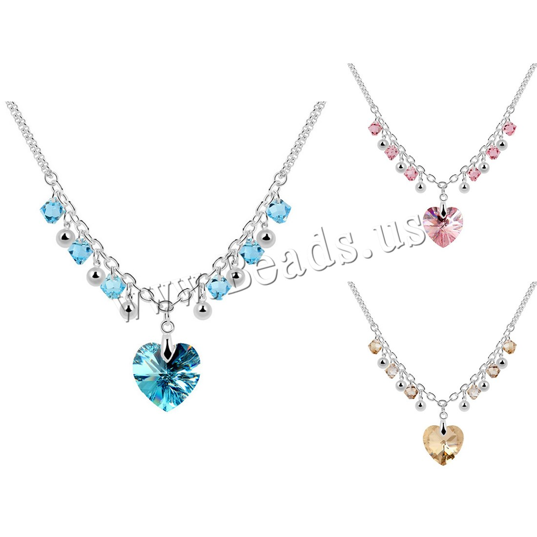 Buy CRYSTALLIZED™ Element Crystal Necklace Brass CRYSTALLIZED™ 5cm extender chain Heart platinum plated box chain & woman & faceted colors choice nickel lead & cadmium free 17x23mm Sold Per Approx 15.5 Inch Strand