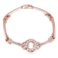 Messing Armband, mit ABS-Kunststoff-Perlen, echtes Rósegold plattiert, für Frau & mit österreichischem Strass, frei von Nickel, Blei & Kadmium, 22mm, verkauft per ca. 6 ZollInch Strang