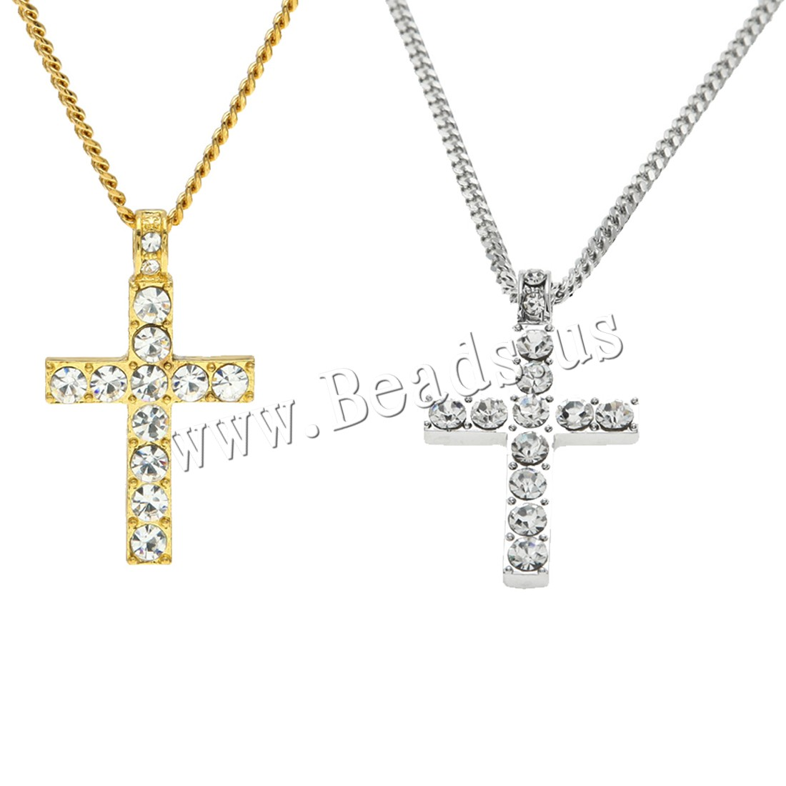 Buy Zinc Alloy Sweater Chain Necklace Cross plated Unisex & curb chain & micro pave cubic zirconia colors choice nickel lead & cadmium free 42x25mm 3mm Sold Per Approx 23.6 Inch Strand