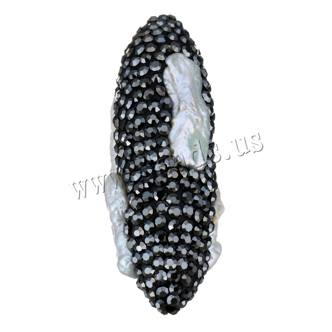 Buy Rhinestone Clay Pave Beads Freshwater Pearl rhinestone 15x43x17mm Hole:Approx 1.5mm Sold Lot