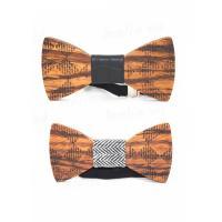 Krawatte, Holz, mit Zettelkasten & PU Leder & elastischer Faden, Schleife, verschiedene Muster für Wahl & für den Menschen, 115x5x5mm, verkauft von PC