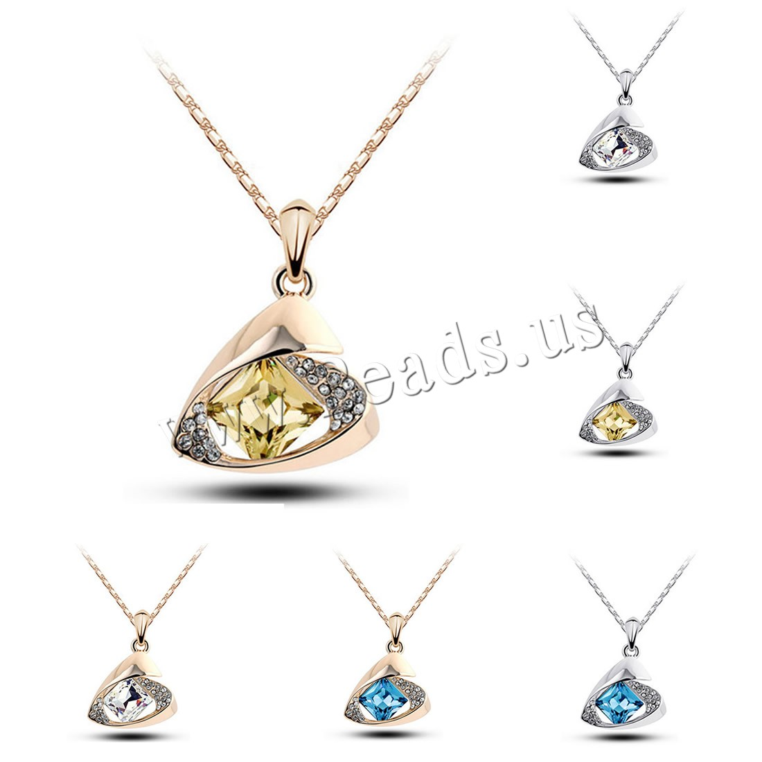 Buy Crystal Zinc Alloy Necklace iron chain & Crystal 5cm extender chain plated bar chain & woman & faceted & rhinestone colors choice lead & cadmium free 24x26mm Sold Per Approx 15.5 Inch Strand