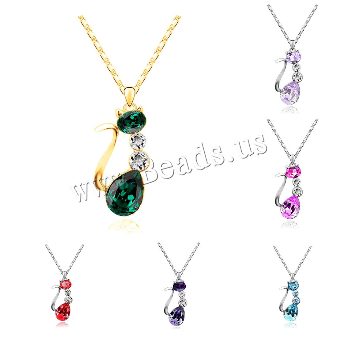 Buy Crystal Zinc Alloy Necklace iron chain & Crystal 5cm extender chain Cat plated bar chain & woman & faceted & rhinestone colors choice lead & cadmium free 35x16mm Sold Per Approx 15.5 Inch Strand
