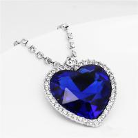 Kristall Zinklegierung Halskette, mit Eisenkette & Kristall, mit Verlängerungskettchen von 5cm, Herz, Platinfarbe platiniert, für Frau & facettierte & mit Strass, blau, frei von Blei & Kadmium, 35x32mm, verkauft per ca. 15.5 ZollInch Strang