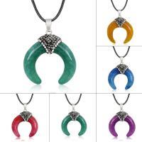 Geknister Achat Halskette, mit Ton & PU Leder, Horn, unisex, keine, 32x30mm, verkauft per ca. 17.5 ZollInch Strang