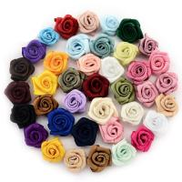 Mode Dekoration Blumen, Satinband, für Kinder, gemischte Farben, 17x17mm, 500PCs/Tasche, verkauft von Tasche