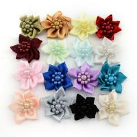 Mode Dekoration Blumen, Satinband, mit Kunststoff Perlen, für Kinder, gemischte Farben, 30mm, 200PCs/Tasche, verkauft von Tasche