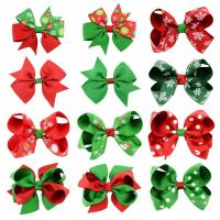 Weihnachts-Haar-Clip, Ripsband, mit Polyester & Eisen, Schleife, Platinfarbe platiniert, für Kinder & Weihnachtsschmuck & verschiedene Muster für Wahl, 45mm, 10PCs/Menge, verkauft von Menge