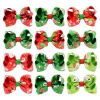 Weihnachts-Haar-Clip, Ripsband, mit Polyester & Eisen, Schleife, Platinfarbe platiniert, für Kinder & Weihnachtsschmuck & verschiedene Muster für Wahl, 80mm, 10PCs/Menge, verkauft von Menge