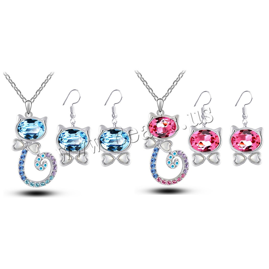 Buy Crystal Jewelry Sets earring & necklace Zinc Alloy iron chain & Crystal iron earring hook 5cm extender chain Cat platinum color plated oval chain & woman & faceted & rhinestone colors choice lead & cadmium free 23x32mm Length:Approx 15.5 Inch Sold Set
