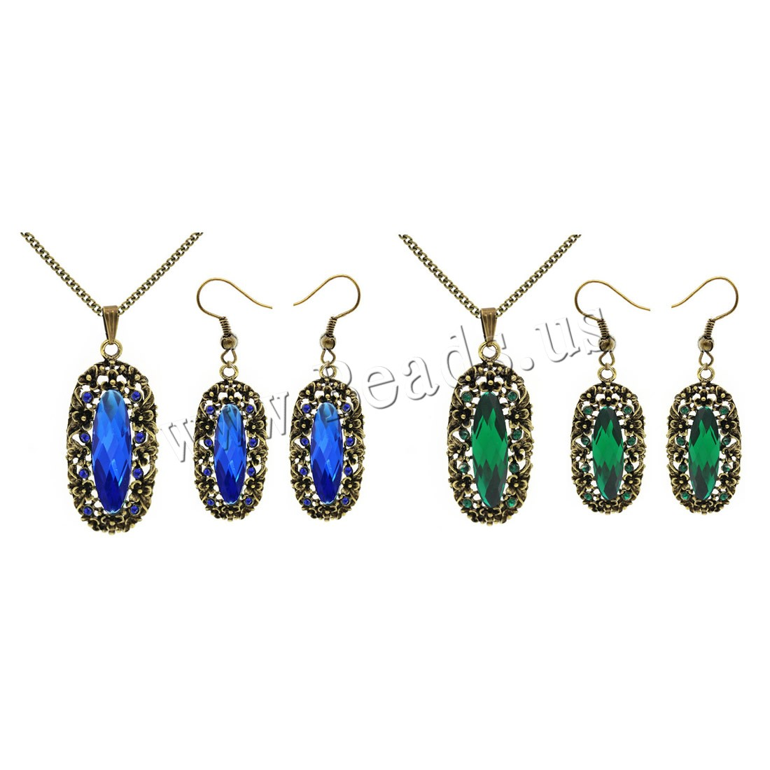 Buy Crystal Jewelry Sets earring & necklace Zinc Alloy iron chain & Crystal iron earring hook 5cm extender chain Flower antique bronze color plated twist oval chain & woman & faceted & rhinestone colors choice lead & cadmium free 20x46mm 18x60mm Length:Approx 15.5 Inch Sold Set