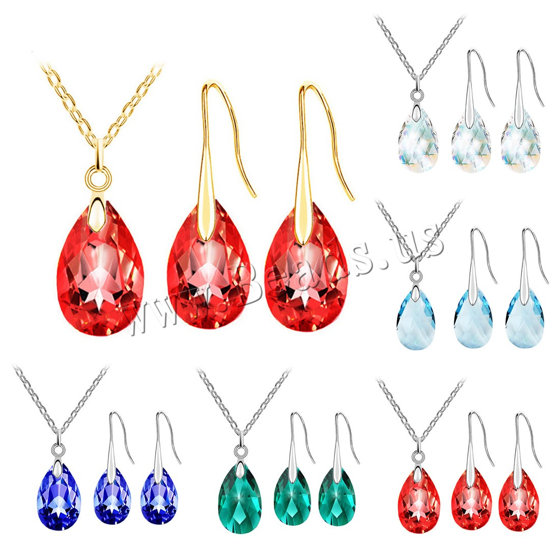 Buy Crystal Jewelry Sets earring & necklace Zinc Alloy iron chain & Crystal iron earring hook 5cm extender chain Teardrop plated oval chain & woman & faceted colors choice lead & cadmium free 20x9mm Length:Approx 15.5 Inch Sold Set