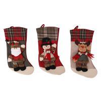 Stoff Weihnachten Socke, Weihnachtssocke, verschiedene Muster für Wahl, 43x21cm, verkauft von PC