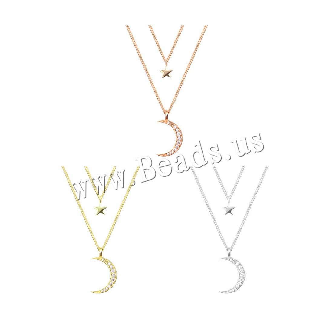Buy Brass Necklace 5cm extender chain Moon Star 18K gold plated twist oval chain & woman & cubic zirconia & 2-strand colors choice nickel lead & cadmium free 45cm Sold Per Approx 17 Inch Strand