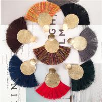 Mode-Fringe-Ohrringe, Zinklegierung, mit Nylonschnur, QuasteTroddel, goldfarben plattiert, für Frau, keine, frei von Nickel, Blei & Kadmium, 100x80mm, verkauft von Paar