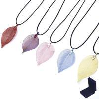 Blatt Halskette, mit Samtbox, mit Verlängerungskettchen von 3.1Inch, natürliche & Bohemian-Stil, keine, 60mm, verkauft per 15.7 ZollInch Strang