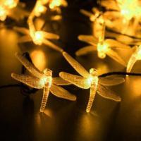 LED Globe und Sternenhimmel Lichterketten Dekorative Draht Lichter Strings Lichter, ABS Kunststoff, Libelle, Solar angetrieben & wasserdicht, keine, 82x50mm, verkauft per ca. 4.8 m Strang