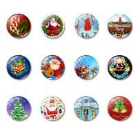 Weihnachten Kühlschrankmagnete, Glas, mit Magnetische Hämatit, flache Runde, Zeit Edelstein Schmuck & verschiedene Muster für Wahl & Aufkleber, 25x8mm, 10PCs/Tasche, verkauft von Tasche