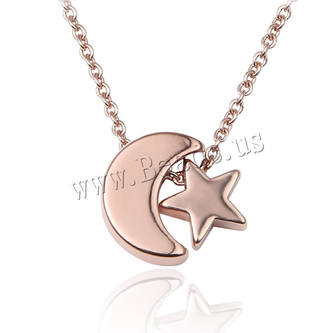 Buy Brass Necklace 5cm extender chain Moon Star 18K gold plated rolo chain & woman nickel lead & cadmium free 7x12mm Sold Per Approx 17 Inch Strand