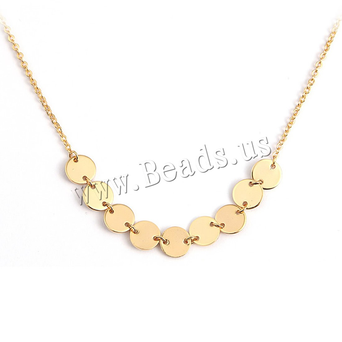 Buy Brass Necklace 5cm extender chain Flat Round 18K gold plated oval chain & woman nickel lead & cadmium free 8mm Sold Per Approx 17 Inch Strand