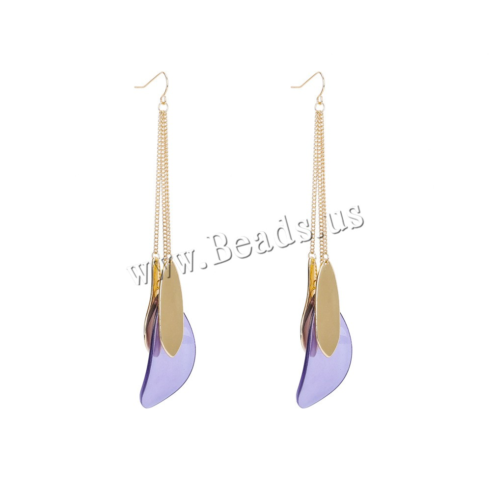Buy Zinc Alloy Drop Earring Resin iron earring hook Leaf gold color plated woman lead & cadmium free 125mm Sold Pair
