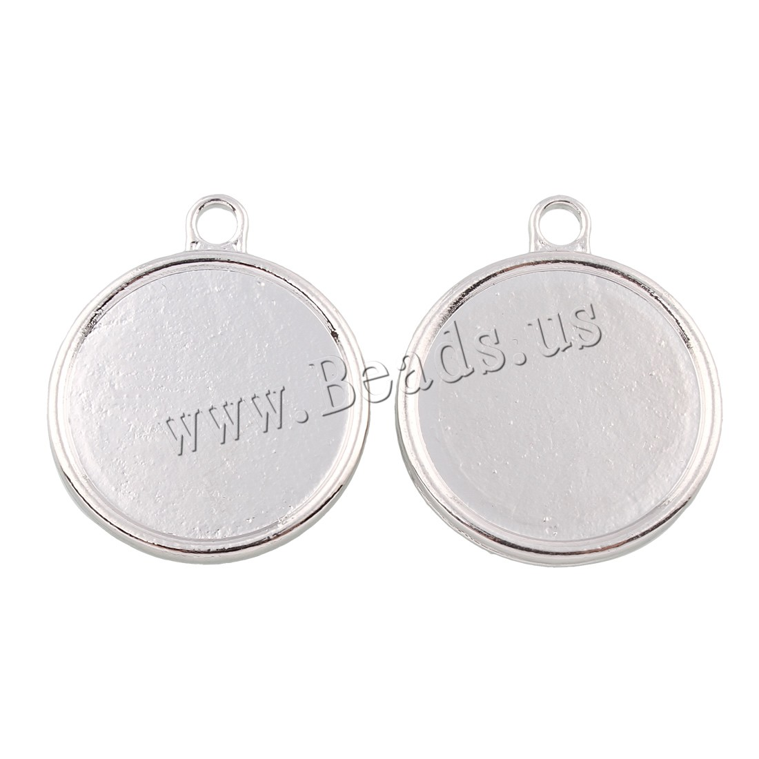 Buy Zinc Alloy Pendant Rhinestone Setting Flat Round platinum color plated double-sided lead & cadmium free 27x32x2mm Hole:Approx 3mm Inner Diameter:Approx 32mm 10PCs/Bag Sold Bag