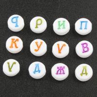 Alphabet Acryl Perlen, flache Runde, gemischtes Muster & mit Brief Muster, 4x7mm, Bohrung:ca. 1mm, ca. 3600PCs/Tasche, verkauft von Tasche