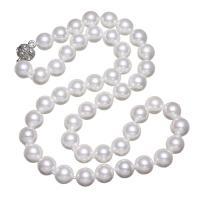 Südsee Muschel Halskette, Messing Magnetverschluss, rund, natürlich, für Frau & mit Strass, weiß, 10mm, verkauft per ca. 17.5 ZollInch Strang