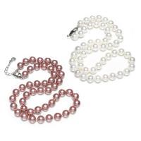 Südsee Muschel Halskette, Messing Karabinerverschluss, mit Verlängerungskettchen von 5cm, rund, natürlich, für Frau, keine, 7-8mm, verkauft per ca. 17 ZollInch Strang
