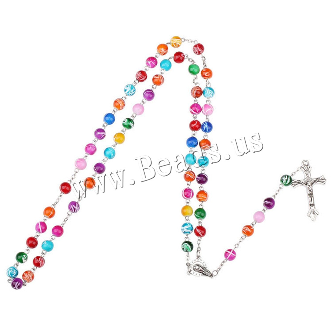 Buy Rosary Necklace Acrylic Zinc Alloy 5.9lnch extender chain Cross antique silver color plated Unisex 8mm Sold Per Approx 27.6 Inch Strand