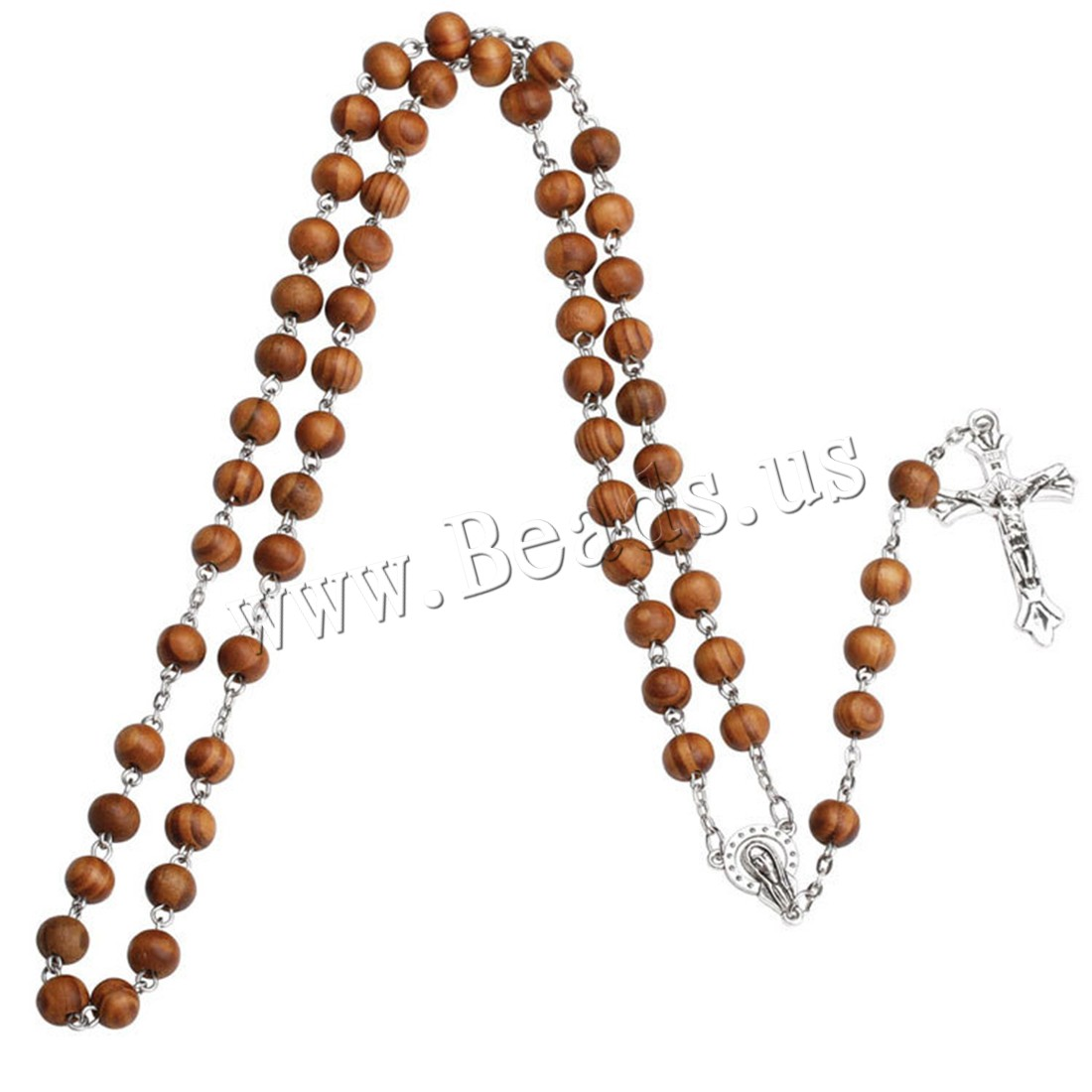 Buy Rosary Necklace Wood Zinc Alloy 5.9lnch extender chain Cross antique silver color plated Unisex 8mm Sold Per Approx 27.6 Inch Strand