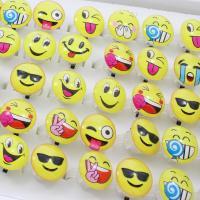 Acryl Manschette Fingerring, für Kinder & offen & gemischt & Aufkleber, 25x35x25mm, Größe:6-9, 50PCs/Box, verkauft von Box