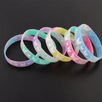 Gummi Armband, unisex, gemischte Farben, 12mm, Bohrung:ca. 1mm, Länge:ca. 7 ZollInch, 10SträngeStrang/Tasche, verkauft von Tasche