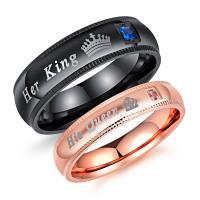 Edelstahl Paar- Ring, plattiert, verschiedene Größen vorhanden & mit Brief Muster & Micro pave Zirkonia & für paar, gemischte Farben, 6mm, 4mm, verkauft von PC