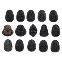 Schwarzer Obsidian Anhänger, Buddha, verschiedene Stile für Wahl, Bohrung:ca. 1mm, 5PCs/Tasche, verkauft von Tasche