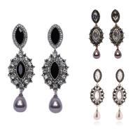 Strass Ohrring, Zinklegierung, mit ABS-Kunststoff-Perlen, Edelstahl Stecker, plattiert, für Frau & mit Strass, keine, frei von Blei & Kadmium, 24x78mm, verkauft von Paar