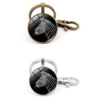 Mode-Zeit-Edelstein Keychain, Zinklegierung, mit Eisen Ring & Glas, flache Runde, plattiert, Zeit Edelstein Schmuck & unisex & Aufkleber, frei von Blei & Kadmium, 25x92mm, verkauft von PC