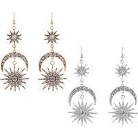Strass Ohrring, Zinklegierung, Messing Haken, Mond und Sterne, plattiert, für Frau & mit Strass, keine, frei von Nickel, Blei & Kadmium, 40x102mm, verkauft von Paar
