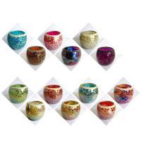 Kerzenhalter, Glas, verschiedene Muster für Wahl, 60x68mm, 83mm, verkauft von PC