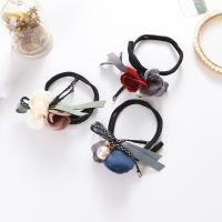 Haarknoten Dutt Dreher, Stoff, mit ABS-Kunststoff-Perlen & Zinklegierung, Blume, mit Strass, keine, 250mm, 3PCs/Tasche, verkauft von Tasche