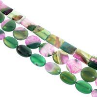 Natürliche Streifen Achat Perlen, gemischt, 18x25x6mm-24x24x6mm, Bohrung:ca. 1mm, 15PCs/Strang, verkauft per ca. 14.9 ZollInch Strang