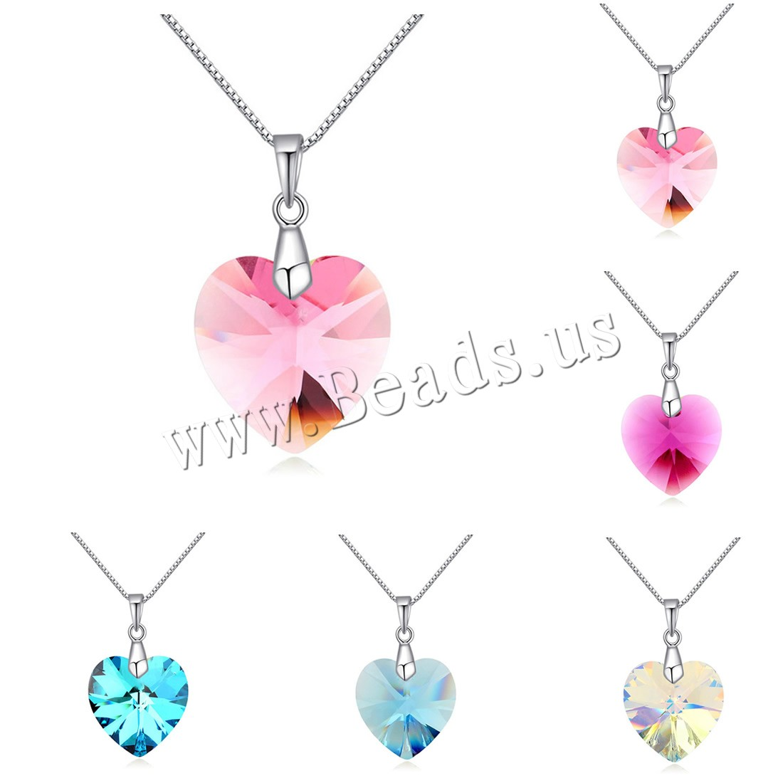 Buy CRYSTALLIZED™ Element Crystal Necklace Brass CRYSTALLIZED™ 5cm extender chain Heart platinum plated box chain & woman & faceted colors choice nickel lead & cadmium free 17x27mm Sold Per Approx 15.5 Inch Strand