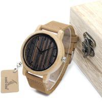 BOBOBIRD® Unisex Uhr, PU Leder, mit Zifferblatt aus Holz & Glas & Edelstahl, einstellbar, originale Farbe, 44mm, 20mm, Länge:ca. 6.3-8.5 ZollInch, verkauft von PC