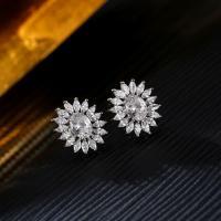 Messing Klemmschnalle, Blume, platiniert, für Frau & mit kubischem Zirkonia, frei von Nickel, Blei & Kadmium, 15x18mm, verkauft von Paar